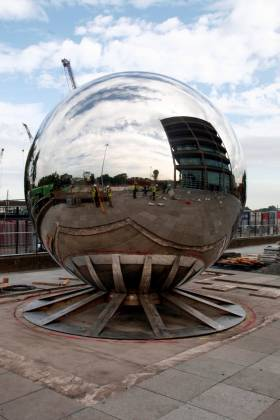 Dublin Port Company is a step closer to opening up its surrounds to the public following the installation of a four tonne Stainless Steel Ball