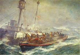 Eight Lightkeepers were safely taken from the then Daunt Lightvessel near the entrance to Cork Harbour during February gales that reached hurricane strength when the lifeboat was on continuous service for 49 hours