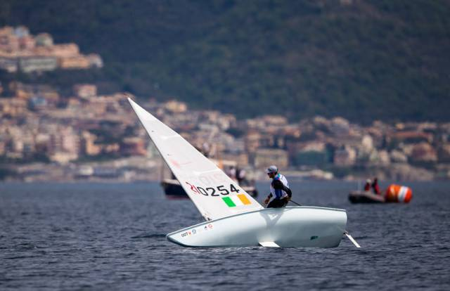 Finn Lynch in the Laser medal race in Genoa earlier today