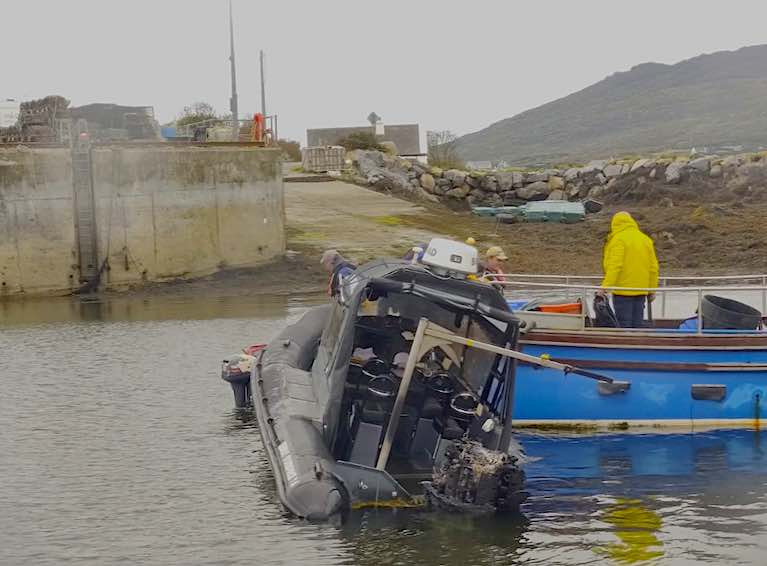 The Rigid Inflatable Boat (RIB) caught fire in Bertraghboy Bay near Roundstone