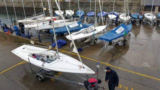 Preparing to launch the Flying Fifteen fleet at the National Yacht Club