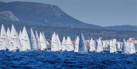 Ireland's James Espey on the extreme right of picture in today's Laser race at Trofeo Princesa Sofia in Palma