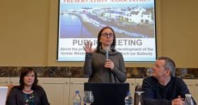 South Dublin residents had objected to controversial proposals for project at Bulloch Harbour near Dalkey. Above: People Before Profit councillor Melisa Halpin speaks at a meeting of the Bulloch Harbour Preservation Association.