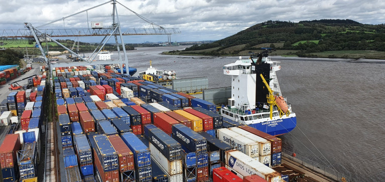 The Irish south-east Port of Waterford reported a busy 2020 and is exploring service to northern France. Above AFLOAT adds is the port's main (container) terminal at Belview located downriver of Waterford City.