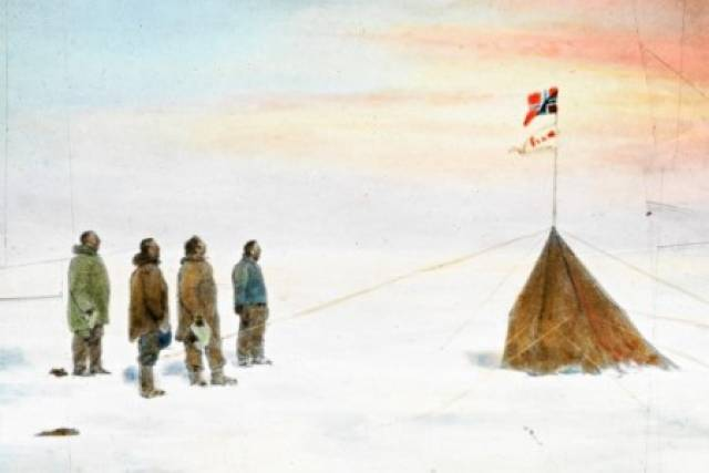 The exhibition Cold Recall is based on images from the original lantern slides that Norwegian polar explorer Roald Amundsen used in public lectures about his expeditions through the Northwest Passage and to the South Pole