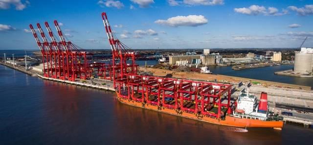 Last batch of giant cranes on board Zhenhua 8 that departed China to be installed at the £400m Liverpool2 container terminal (above) that is due to have a 'formal' opening next month