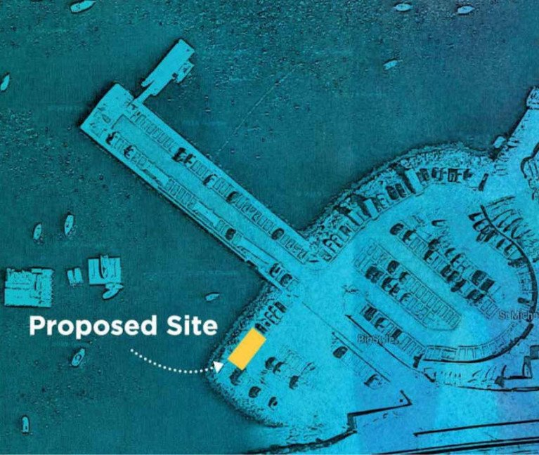 The current planned location of BigStyle's new SUP hub at the Coal Harbour. Below, artist's impression of the space