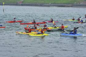 Action from yesterday's Bangor Bay Sea Kayak Race
