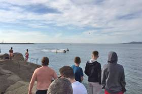 The jet skis spotted speeding in the marked swimming area at the Forty Foot on Friday afternoon