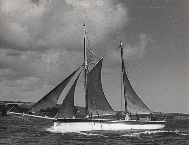 Work on re-building Conor O'Brien's Saoirse has begun in West Cork. Meanwhile, the noted world-girdler's capacity for speed has always been a matter of interest – this photos of her at full chat off the coast of Cornwall was taken in the 1950s by another noted circumnavigator, Eric Hiscock