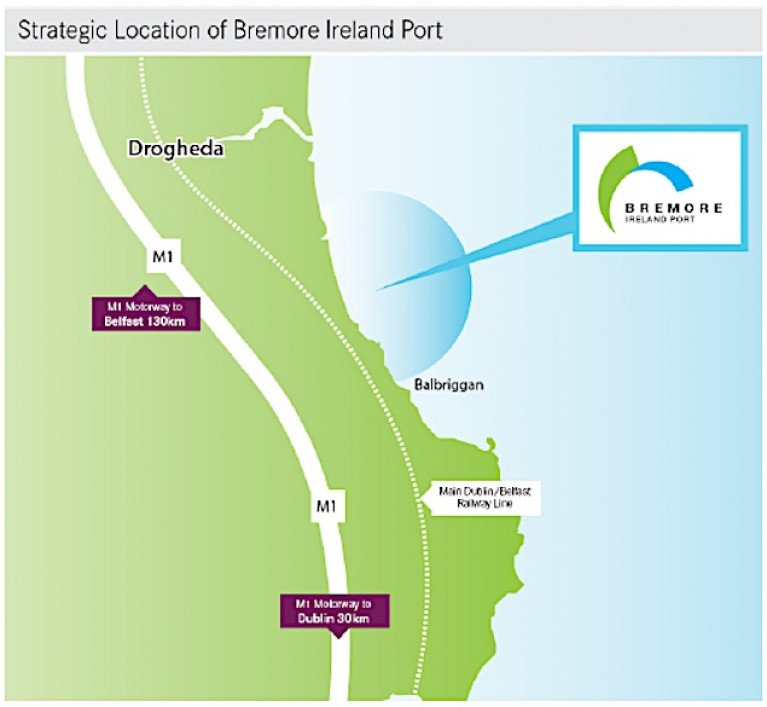 The location of Bremore on Ireland's north east coast