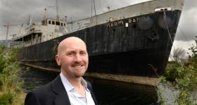 Save Historic Ship: Owner of the 'Naomh Éanna' Sam Field Corbett has high hopes for development of his ageing former Aran Islands ferry converted into a boutique hotel located on the Liffey