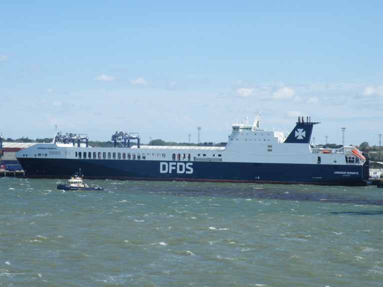 UK Ferry Contracts: Additional capacity will be on quieter ferry mainland Europe-UK routes to ports among them Felixstowe (above) on the North Sea. AFLOAT's photo of DFDS ro-ro freightferry Gardenia Seaways. Opposite of the Suffolk port is Harwich in Essex where another reciprient of the Post-Brexit contract, Stena Line serve Hook van Holland, Netherlands.