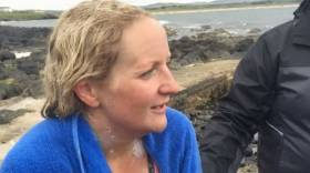 Heather Clatworthy pictured after he extraordinary swim from Inishowen to Portstewart this week