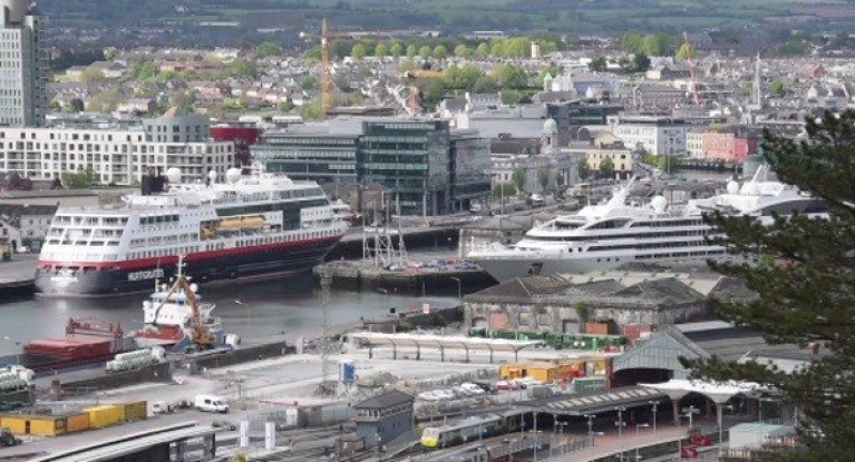 Cruise ships to arrive into Cork Harbour despite Covid-19 fears. Above AFLOAT adds only small cruise ships can berth above in Cork city-centre, on the left along the South Quays (or Jetties) and on the right at Custom House Quay, North
