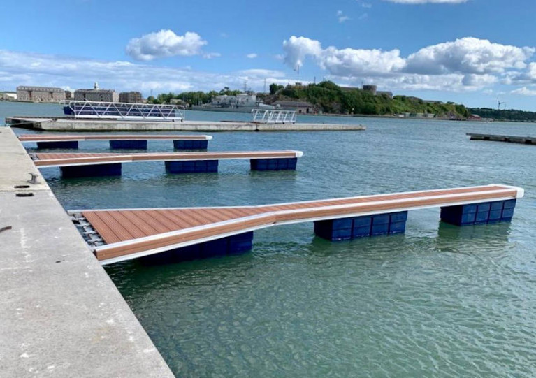 Cove Sailing Club's new marina pontoons take shape
