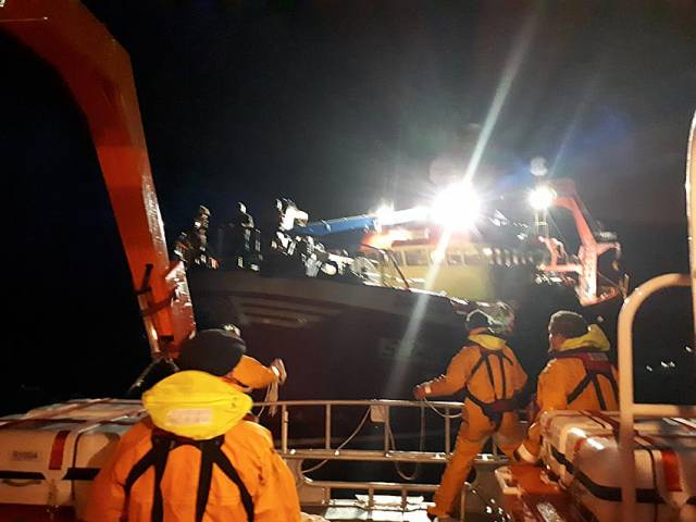 Arranmore RNLI volunteers assist the trawler during their 14-hour callout early yesterday