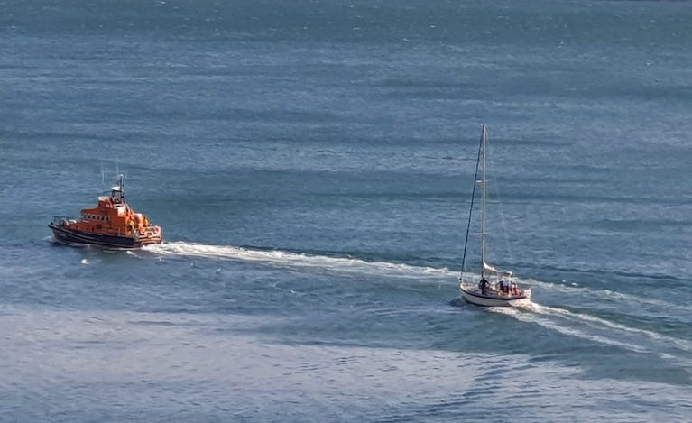 Dun Laoghaire RNLI tows the yacht back to harbour