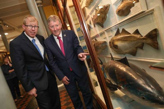 Inland Fisheries Ireland chief executive Dr Ciaran Byrne and Minister of State with responsibility for inland fisheries Seán Canney at the announcement of the new pilot programme for catch and release of bluefin tuna by a limited number of sea angling vessels