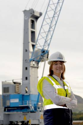 Clare Guinness, CEO at Warrenpoint Port with the new crane