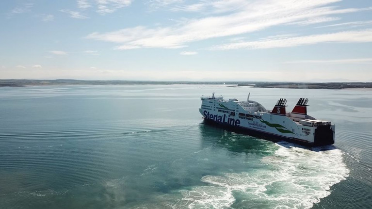 As expected the ferry group's finances have been hit but second quarter shows signs of recovery. Above Stena Adventurer swings off the Port of Holyhead in north Wales
