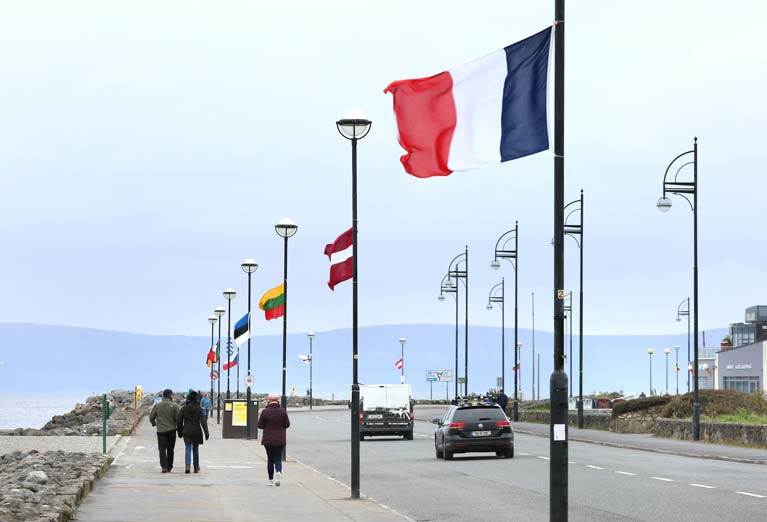 European Flags Fly on Galway's Salthill Promenade