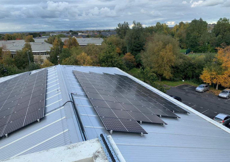 Solar PV panels on the roof of IFI's main office in CityWest