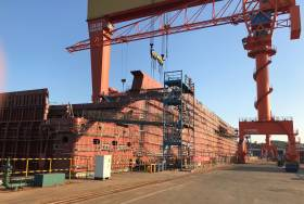 On schedule as Stena Line reach an important milestone in its major new fleet investment programme with steel cutting of a third E-Flexer ship to be deployed on its Irish Sea routes. They are all planned to enter service during 2020 and 2021, now under construction at the Avic Weihai Shipyard in China where first of the new vessels (pictured) is to commence operation on Dublin-Holyhead route in early 2020. The remaining pair will serve Belfast-Liverpool in 2020 and 2021. The trio of E-Flexers will be bigger than today's Irish Sea standard RoPax vessels, at 215m long with 1,000 passengers, 120 cars and a freight capacity of 3,100 lane meters.
