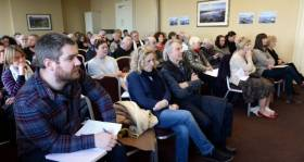 People attending a public meeting on the proposed development at Bulloch Harbour, Dalkey earlier this month.