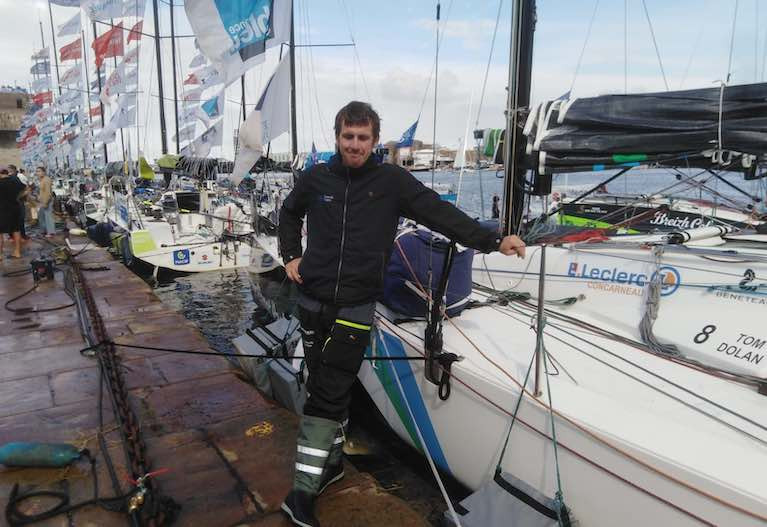 Tom Dolan dockside - the County Meath solo sailor finished 10th on the first stage, 11th on the second and seventh into Saint Nazaire at the end of the third stage. It is an excellent result for the 33-year-old on just his third La Solitaire