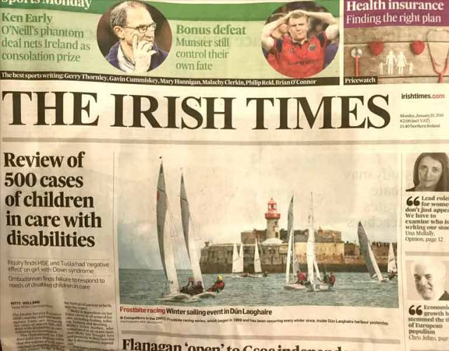 The long running DMYC Frostbite series makes the front page of the Irish Times this morning. The series that is running since 1969 held in harbour racing on Sunday