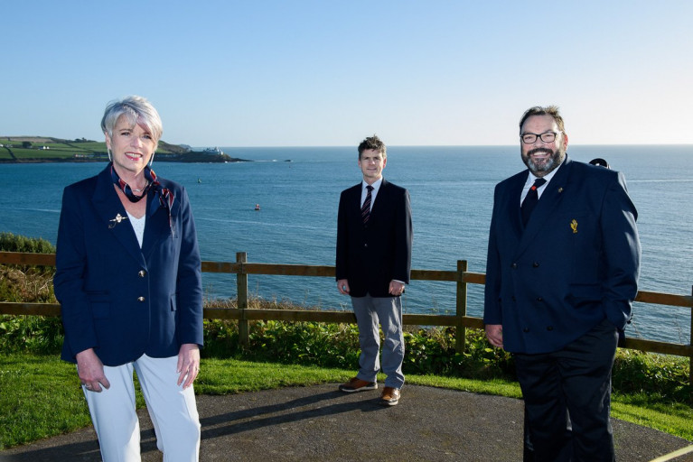 Cork Week Chairpersons appointed - Annamarie Fegan and Ross Deasy (centre) are pictured here with Admiral of the Royal Cork Yacht Club, Colin Morehead, at Weaver's Point, Crosshaven