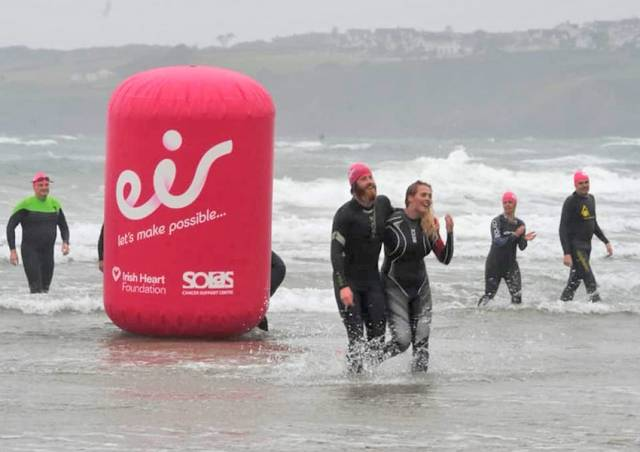 Alan reaches shore after the final swim of his seven-week, 500km challenge