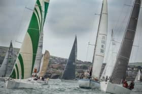 A crowded start line for the 2016 Round Ireland Race from Wicklow, part of the RORC Points Championships