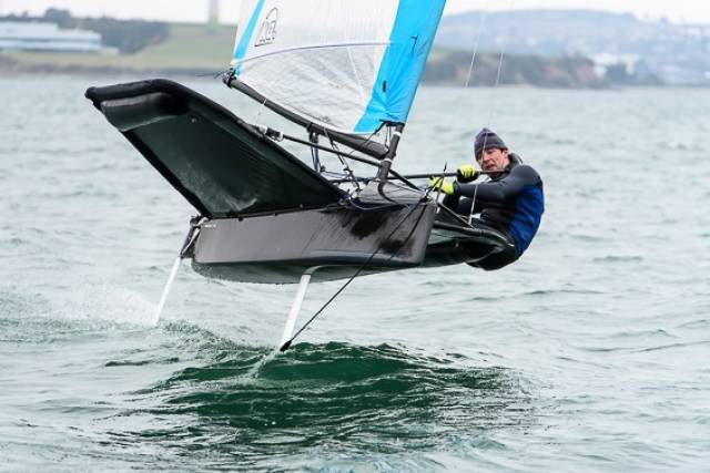 David Kenefick foiling at Royal Cork Yacht Club on Saturday