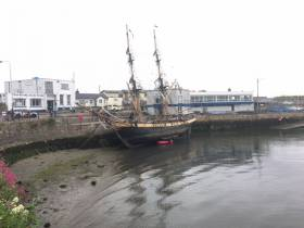 Almost tucked into the corner of the Old Harbour, the innermost within Dun Laoghaire Harbour was the tallship Phoenix that called in briefly for repairs to the brig's bottom timbers. The sight of such a vessel at this location was a surprise no doubt to onlookers and DART commuters alike.
