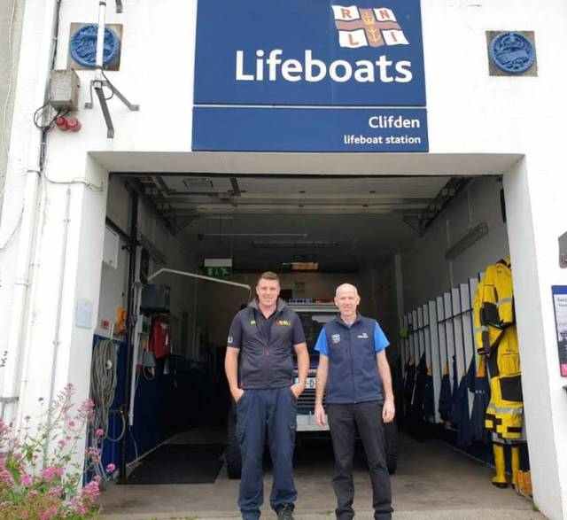 Thomas Davis (left) and Rob King of RNLI Clifden