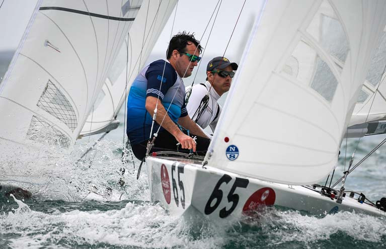 Robert (left) and Peter O'Leary in race two of the Bacardi Cup on Biscayne Bay