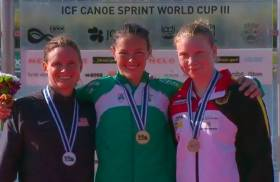 Jenny Egan with her gold medal from the World Cup in Portugal. Margaret Hogan of the US took silver and Melanie Gebhardt of Germany bronze.