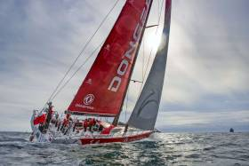 Charles Caudrelier skippers Dongfeng's upgraded Volvo Ocean 65 off Lisbon