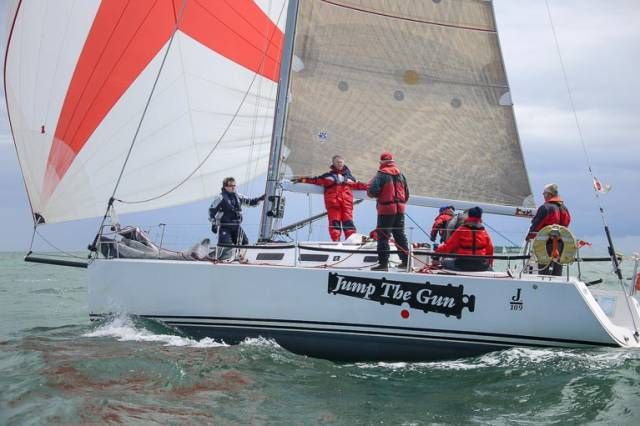 After two cancellations, the 50–boat fleet including the J109 Jump the Gun above is hopeful for a start this Sunday