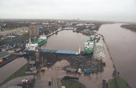 General cargo ships occupy the Ted Russell Dock, Limerick where the single basin facility Afloat adds has a quartet of ships including a pair of Arklow Shipping vessels.