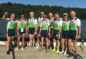 The Irish eight which won at the World Masters Regatta in Denmark.