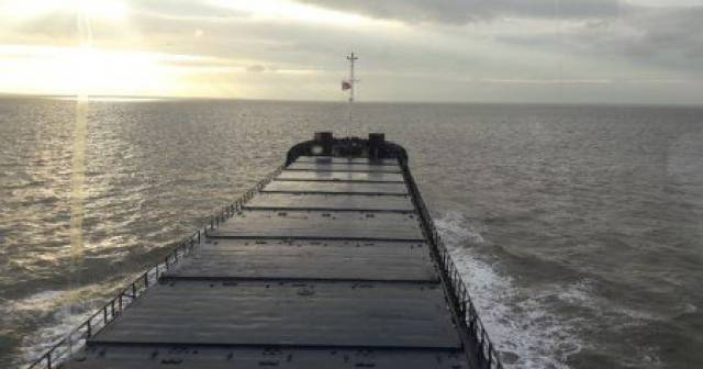 The deck hatch covers where beneath wheat was carried on the 'Blue Six' en-route to the Port of Silloth, located on the Irish Sea along the Solway Firth which borders England and Scotland.