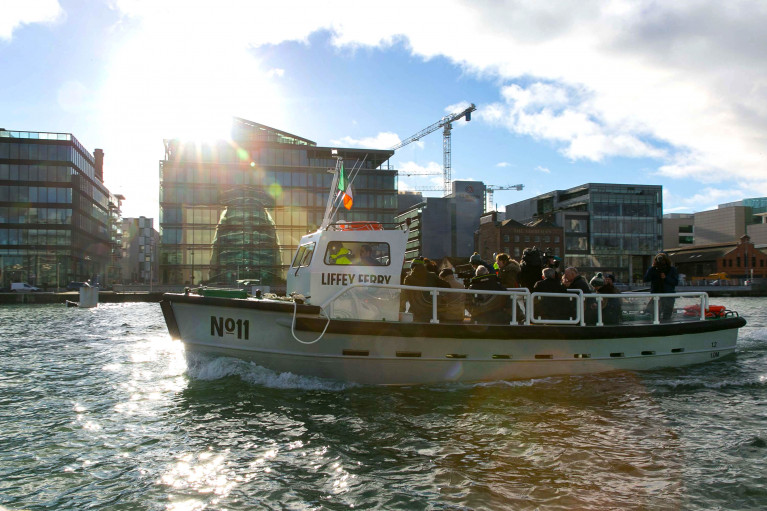 Former Dockers Taxi: The Liffey Ferry is back in service as above underway is the No.11 which is operating to strict social distancing measures during the short crossing linking three pontoon stops located in the centre of Dublin's 'Docklands' quarter.