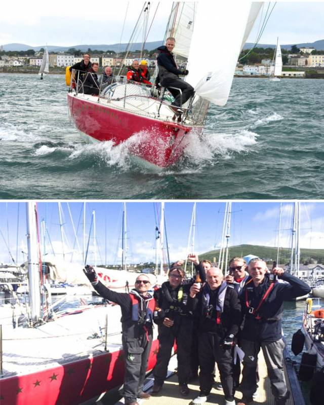 (Top) Rupert Barry's JOD35 Red Alert at the start off Dun Laoghaire on Wednesday evening  and (above) We made it! The crew of Red Alert in Dingle this morning. They may have placed 7th in Racing 1, and 14th overall. But remember, that's 14th out of 43 starters