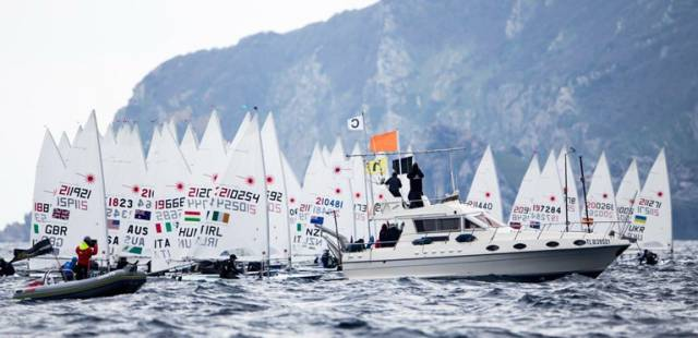 Solitary Irish competitor Finn Lynch prepares to start a Laser Race in the Sailing World Cup in Hyeres today
