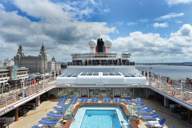 Cunard Line's 'Vista' class Queen Elizabeth alongside Liverpool Cruise Terminal. The call was to celebrate the centenary of the former Cunard Line building, one of the 'Three Graces' on the famous Mersey waterfront