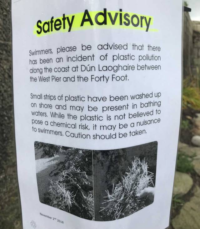 Safety Advisory For Swimmers Over Plastic Pollution At Forty Foot