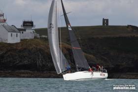 George Sisk's Farr 42 Wow passes Roches Point at the entrance to Cork Harbour on the first day of Volvo Cork Week Regatta yesterday. Scroll down for a photo gallery
